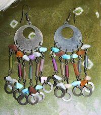 """Vintage Drop Earrings Pierced Hooks 3.5"""" Long Chandelier Beads Hoops Dangle"""