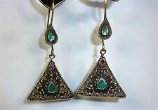 Tribal Ohrringe, Hippie-Ohrringe Dreieckige Nomadenohrringe im kasachischen Stil