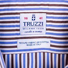 Truzzi Milano Italy Mens sz 16 Blue Brown Stripe Long Sleeve Dress Casual Shirt