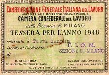 TESSERA  CGIL  FIOM    1948   PROVINCIA  DI  MILANO