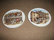 2 DECORATIVE COLLECTORS PORCELAIN BATALHA PLATES-MADE IN PORTUGAL-COACHING SCENE