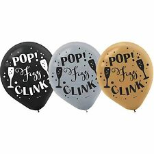 New Year's Pop Fizz Clink Balloons Latex Balloons 15ct-NEW-12in round
