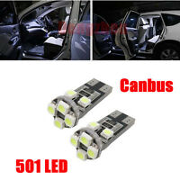 T10 CAR LED BULBS ERROR FREE CANBUS 8 SMD XENON WHITE W5W 501 SIDE LIGHT BULB