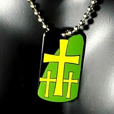 Christian Dog Tag Necklace -Three Crosses