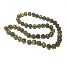 Vintage 1970s Green Jadeite Jade 16 Inch Bead Strand