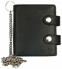 Biker's spaceful black genuine leather wallet with metal chain to hang vertical