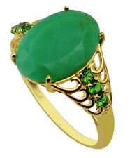 Solid 10k Rose Gold Casual Ring with Natural Chrysoprase 5.27 Ct. Gemstone
