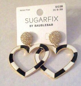 New Sugar Fix Bauble Bar Gold Tone Dangles Black White  Hearts  Pierced Earrings