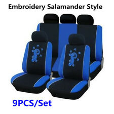 Blue 9pcs /Set Embroidery Salamander Style Universal Standard Car Seat Covers