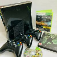 Microsoft XBox 360s 250Gb Slim Console Bundle Official Controllers and Games
