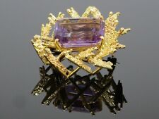 Abstract Vintage 10.2CT Amethyst 18K Yellow Gold Brooch Pin, 11.4g