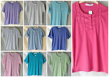 NEW WOMENS PLUS SIZES 10-24 POLY/COTTON JERSEY EMBROIDERED BUTTON FRONT T.SHIRT