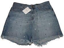 New NWT Big Star Farrah High Rise Boyfriend Shorts Blue White Stars Sz 30 NVWFAR