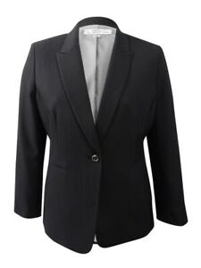 Tahari ASL Women's Contrast-Cuff Pinstripe Suit Jacket 8, Black/White