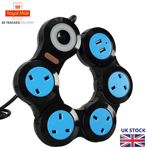 Flexible Rotary Socket 4 Outlet Power Strip with 2 USB Port Extension Lead UK