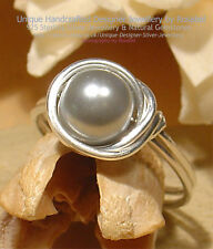 LOVELY LIGHT GREY PEARL 925 SILVER RING - Size Q, 8 All Sizes #R_0218-1