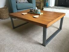 Industrial and Modern Coffee table, Solid Wood, Metal Legs 90x60x35, Oak, Pine