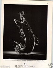1972 PAPER AD Trout & 18K Gold Fly Steuben Glass $700.