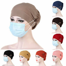 Solid Cotton Muslim Turban Hat For Women Button Bonnet Inner Hijab Cap Head Wrap