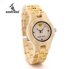 Women's Casual Wooden Watch Bamboo Wood Quartz Round Face Wristwatch BOBO BIRD