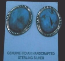 Sleeping Beauty highgrade Natural Turquoise Earrings handmade signed GD sterling