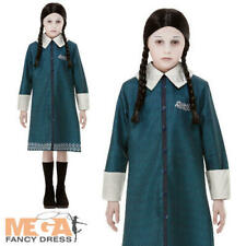 Wednesday Addams Family Girls Fancy Dress Gothic Halloween Kids Costume Outfit