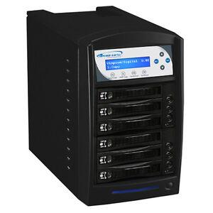 1 to 5 HDD Hard Drive SSD Clone Duplicator Standalone 120MB/Sec HDDSHARKTB-5T-BK
