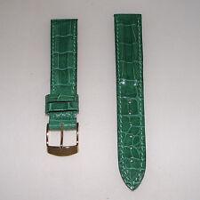 Cinturino pelle stampa coccodrillo colore verde ansa 16 fibbia dorata b155A1