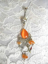 COOL PEACHY ORANGE CATS EYE DROPLET 3 TIER BOLLYWOOD CLEAR CZ BELLY BUTTON RING