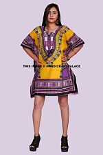 Traditional African Dashiki Women Boho Loose Short Sleeve Kaftan Sexy Dress Tops