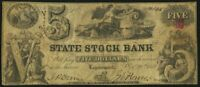 1852 $5 (Five) Dollars State Stock Bank, Obsolete Note Logansport, IN, SN#10145