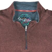 Robert Graham Mens Brown Pullover 1/4 Zip Sweater size 2XL