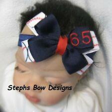 Custom # Baseball Layered Hair Bow Headband Mlb Fits Preemie 2 Toddler Embroidry