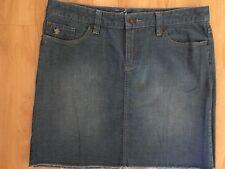 Ladies ESPRIT Blue Denim Skirt Size 10 Mid Length Cut Off Frayed Hem