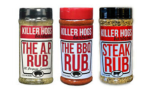 Killer Hogs The BBQ Rub, All Purpose & Steak Barbecue Seasonings 16 oz (3 Pack)