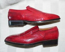 MENS A+ GIORGIO BRUTINI GENUINE RED SNAKESKIN SLIP-ON SHOES LOAFERS SIZE 10.5 M