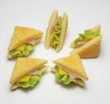 Set of 5 Dollhouse Miniature Ham Cheese Sandwiches * Doll Mini Food Bakery Bread