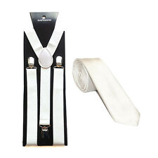 """Suspenders / Braces with Matching Slim Satin 2"""" Tie - Choice of colours"""