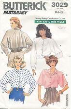Butterick 3029 Misses Vintage 1988 Shirts Sewing Pattern ~ Size 6 8 10 ~ Uncut