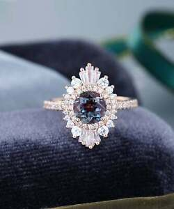 3Ct Round Cut Alexandrite Diamond Halo Engagement Ring Solid14K Rose Gold Finish