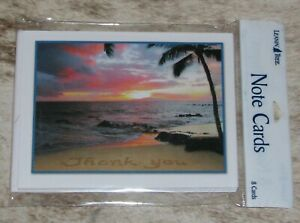 "LEANIN TREE ""Thank You"" Beach Tropical Ocean #35972~8 Notecards~Blank Inside"