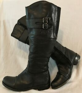 Phillips Black Knee High Leather Boots Size 38 (123vv)