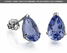 TANZANITE 1 CWT 10K SOLID WHITE GOLD EARRINGS EARTH MINED  DECEMBER BIRTHDAY GEN