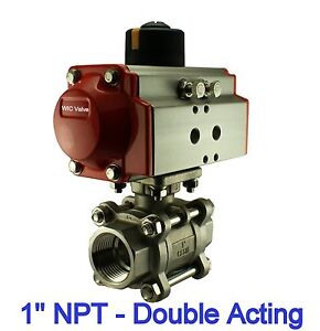 """Pneumatic Air Actuated Stainless Ball Valve 1"""" Inch Double Acting Air Return"""