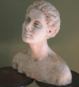 Large Vintage Roman Greek Female Bust Classical Plaster Sculpture Lady Goddess