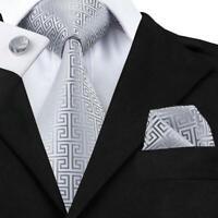 Silver Tie Set Silk Mens Jacquard Woven Business Meeting Necktie Cufflinks C-484