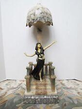 Antique Italian Marble Art Deco Egyptian Girl Table Lamp.
