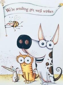 """""""We're Sending Get Well Wishes"""" CARD for CAT DOG / ANIMAL LOVER or From the Vet"""