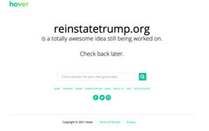 Trump Reinstatetrump.org domain name for sale paid for one year Trump Website