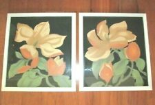 FABULOUS Pair MCM Hand Colored Litho Framed MAGNOLIA Prints Bernard Picture Co.